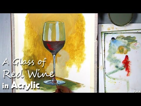 A Glass of Red Wine Still Life Painting in Acrylic