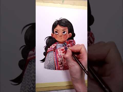 """Watercolor Portrait """"Peruvian Girl"""" work in progress painting by Iraville"""