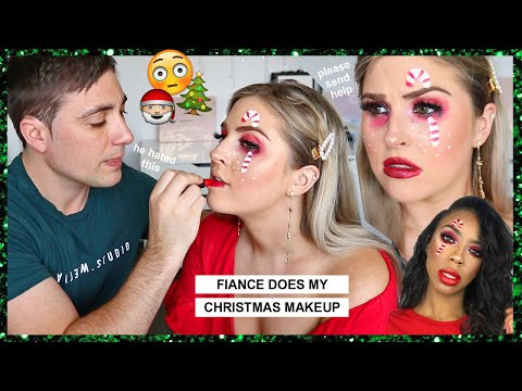 FIANCÉ does my CHRISTMAS MAKEUP! 🎄 my fav video yet... lol