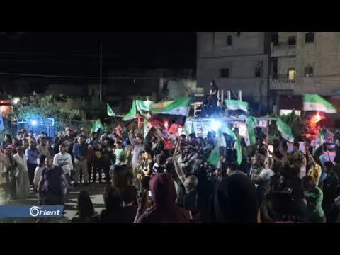 مظاهرة في مدينة عفرين تنديدا بقصف مدن وبلدات حماة وإدلب - سوريا