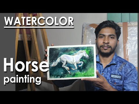 Watercolor Painting : Horse | steps to follow