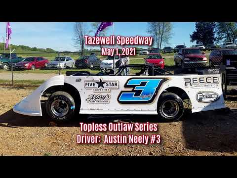 Austin Neely #3 @ Tazewell Speedway May 1, 2021 - dirt track racing video image