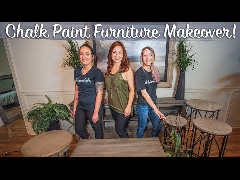 How To Chalk Paint Furniture *DIY*  Distressed Finish Tutorial   Console, Coffee, and Side Tables  