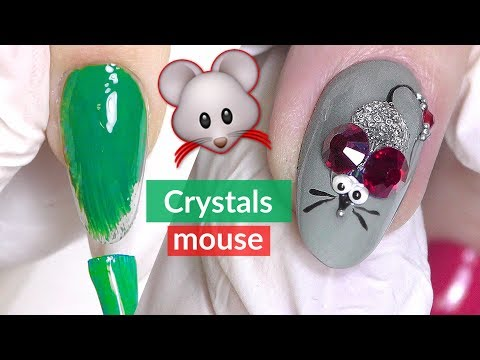 Nail Art for Beginners - Mouse with Crystals