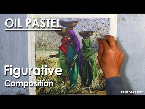 Oil Pastel Figurative Composition : The Working Woman | step by step