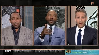 Max and Stephen A. TENSE More important to Team's success: Jackson or Wentz? | FIRST TAKE 8/22/2019