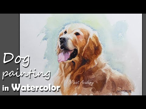 How to Paint Dog in Watercolor | Golden Retriever Painting
