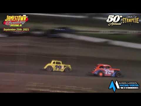 Jamestown Speedway INEX Legends A-Main (50th Jamestown Stock Car Stampede) (9/25/21) - dirt track racing video image