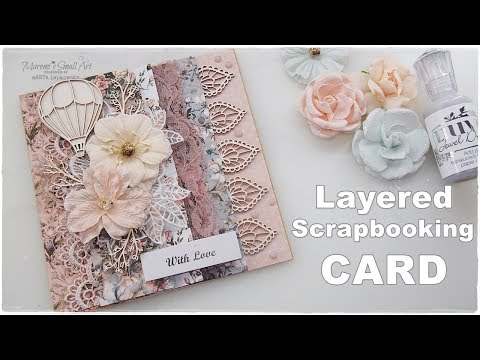 Shabby Chic Layered Scrapbooking Card ♡ Maremi's Small Art ♡