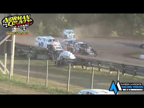 Norman County Raceway IMCA Modified Races (8/12/21) - dirt track racing video image