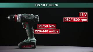 Akutrell Metabo BS 18 L Quick, 13mm padruniga - 2,0 Ah