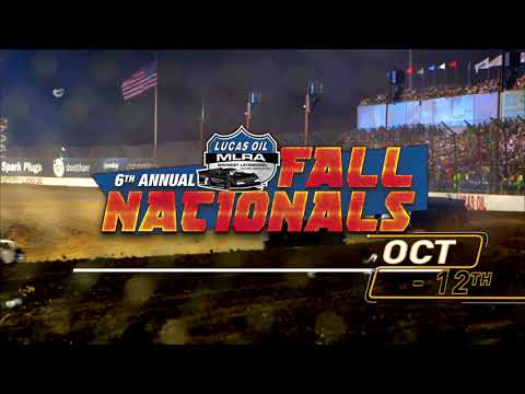 What makes Fall such a beautiful season? Is it the crisp air? Or the turning leaves? Or is it the roaring, fender-slamming action of Late Model Dirt Track Racing? Decide for yourself at the 6th Annual Lucas Oil MLRA Fall Nationals at Lucas Oil Speedway in Wheatland, Missouri! Bring the whole family and get cozy around the big dirt oval for some hot racing action. It all happens October 11th and 12th and its ONLY at Lucas Oil Speedway. For tickets and info, visit LucasOilSpeedway.com! - dirt track racing video image