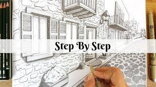 How To Draw An Old Street Using Two Point Perspective | Step By Step