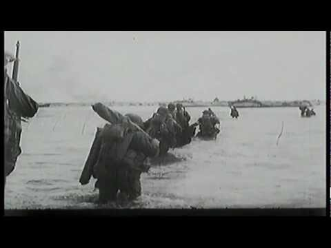 Footage from an American-commentated account of the Normandy landings