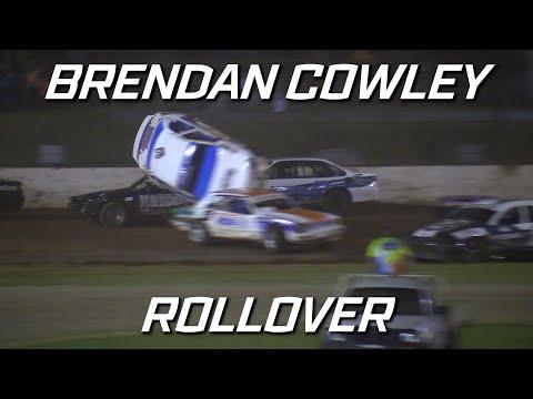 Production Sedans: Brendan Cowley Rollover - Kingaroy Speedway - dirt track racing video image
