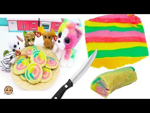Rainbow Swirl Sugar Cookies  with Beanie Boo's - Cookie Swirl C Cooking Video - UCelMeixAOTs2OQAAi9wU8-g
