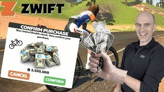 ZWIFT: Purchasing the Most Expensive Bike In-Game // 3,550,000 Drops! 💧