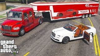 GTA 5 Real Life Mod #175 Freightliner M2 Hauler Delivering A Rolls Royce Dawn In An Enclosed Trailer