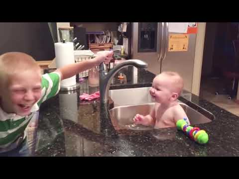 Funny Baby Playing With Water   Baby Outdoor Video