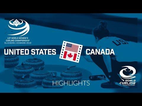 HIGHLIGHTS: United States v Canada - round robin - LGT World Women's Curling Championship 2019