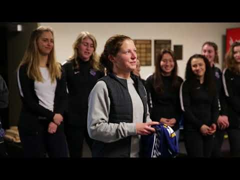 New head coach of the Women's Soccer team Michelle French stopped by Villa-Maria to address the Villa Drum Squad Tuesday, January 30th.