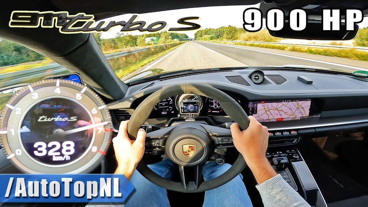 900HP Porsche 992 Turbo S 328KM/H on AUTOBAHN [NO SPEED LIMIT] by AutoTopNL