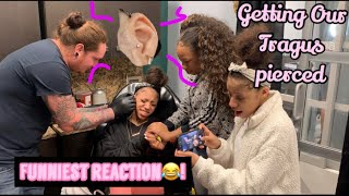 GETTING OUR TRAGUS PIERCED😱! ( FUNNIEST REACTION)