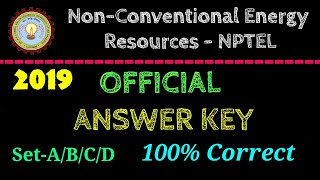 NCER-NPTEL | OFFICIAL Answer Key | 2019