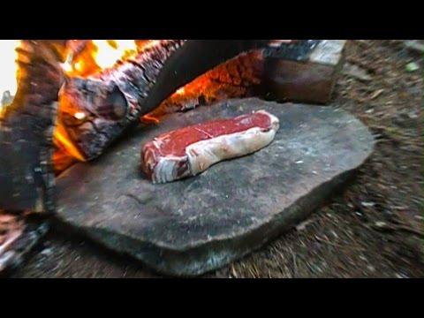 Primitive Survival - Cooking Meat on a Rock