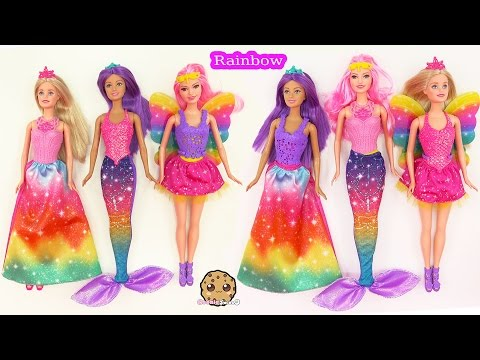Barbie RAINBOW Easy Dress Up Dolls Mermaid Fairy Princess Fairytale Cookieswirlc Toy Video - UCelMeixAOTs2OQAAi9wU8-g
