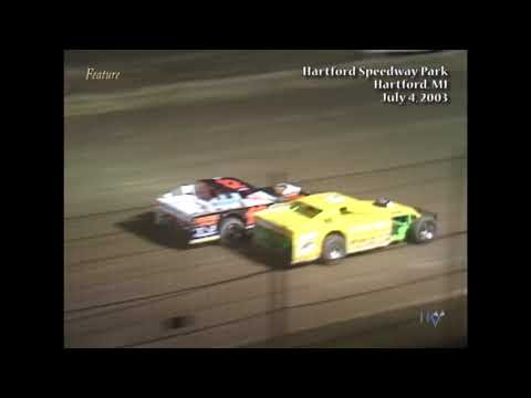 Full race from the IMCA Modified division at Hartford Speedway Park in MI July 4, 2003. - dirt track racing video image