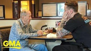 Waiter's kindness towards 91-year-old veteran eating alone wins hearts | GMA