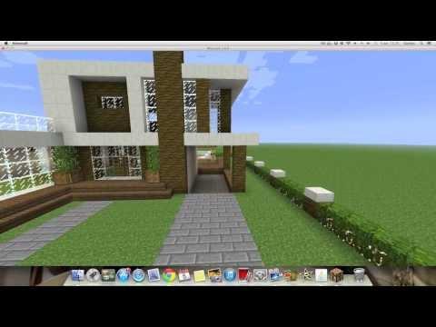 Youtube como hacer una linda casa moderna en minecraft for Casa moderna tutorial minecraft