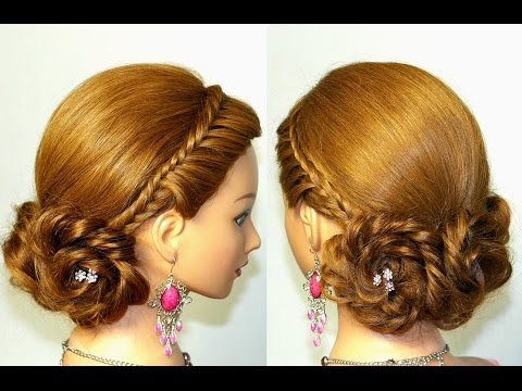 Prom, bridal hairstyles for long hair. Braided updo - womenbeauty1