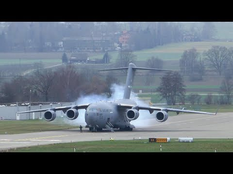 U.S. Air Force Boeing C-17 departure at Zurich Airport - insane STOL takeoff!!! - UCNqONX-AfaeHO4sIXlGKcPA