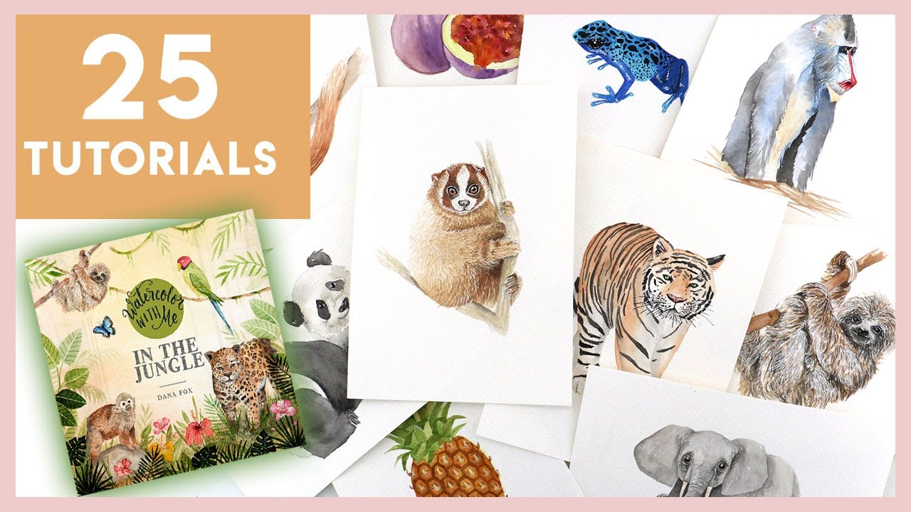 25 NEW Watercolour Tutorials! Watercolor With Me: In The Jungle!