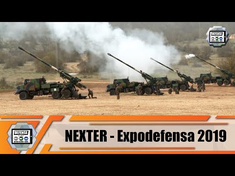 Nexter Systems ExpoDefensa 2019 with artillery systems 20mm automatic cannon ammunition and robots
