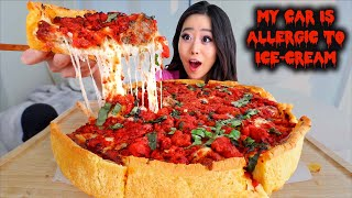 CHEESY DEEP DISH PIZZA STUFFED WITH SPICY ITALIAN MEATBALLS MUKBANG | Eating Show
