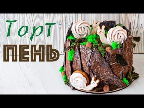 ТОРТ - Пень ☆ КОРА из шоколада ☆ Шоколадный КРЕМ для выравнивания