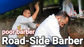 Roadside Indian Barber Head Massage with Neck Cracking - ASMR Street Barber
