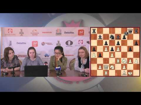 Women's World Chess Championship Match. Round 8 press-conference.