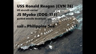US aircraft carrier and Japanese destroyer sailed in Philippine Sea
