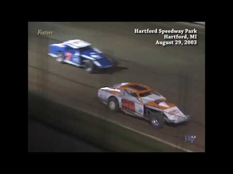 Full race from the IMCA Modified division at Hartford Speedway Park in MI August 29, 2003. - dirt track racing video image
