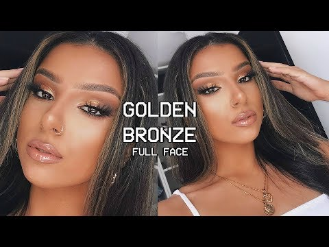GOLDEN BRONZE FULL FACE GLAM MAKEUP TUTORIAL | SUMMER 2019