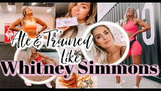 I ATE AND TRAINED LIKE WHITNEY SIMMONS FOR A DAY!! Reviewing her Merch, Tarte Palette, & Recipes!