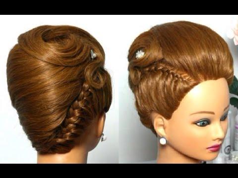Прическа для средних волос: ракушка с косой