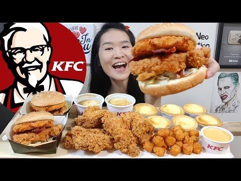 KFC Mozzarella Zinger Burger!! Hot & Spicy Fried Chicken, Creamy Cheese Tarts   Eating Show Mukbang - UCFCiaq5RoA7I_JFuLogpXgA