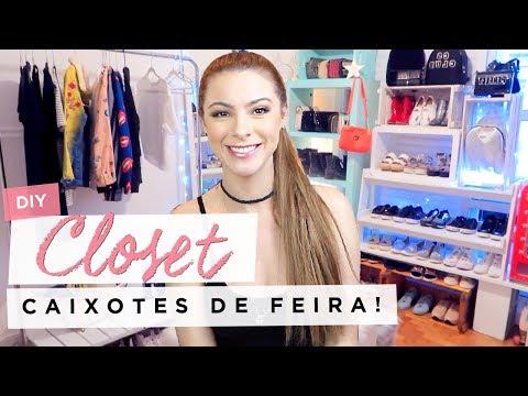 DIY :: Closet + Dicas de Organização!!! (caixotes de feira) #diy #closet #organizacao