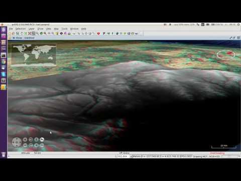 gvSIG Desktop. 3D View: Anaglyph mode