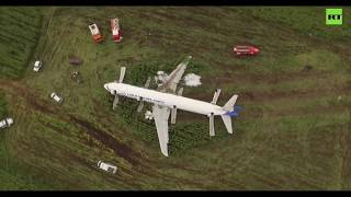 Emergency landing Airbus А-321 Ural Airlines after collision with birds (all 230 people survived).